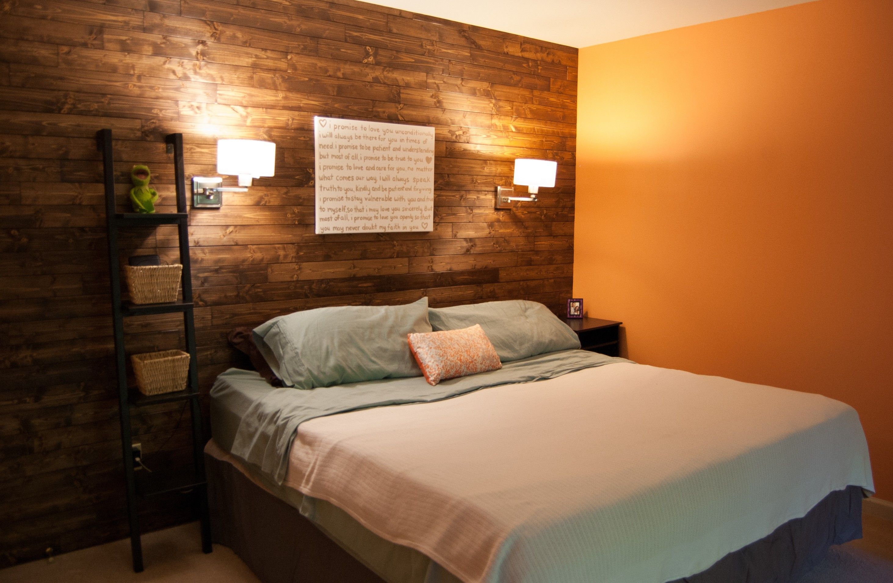 Fancy Glass Shade Wall Bedroom Reading Light On Rustic Stone Wall