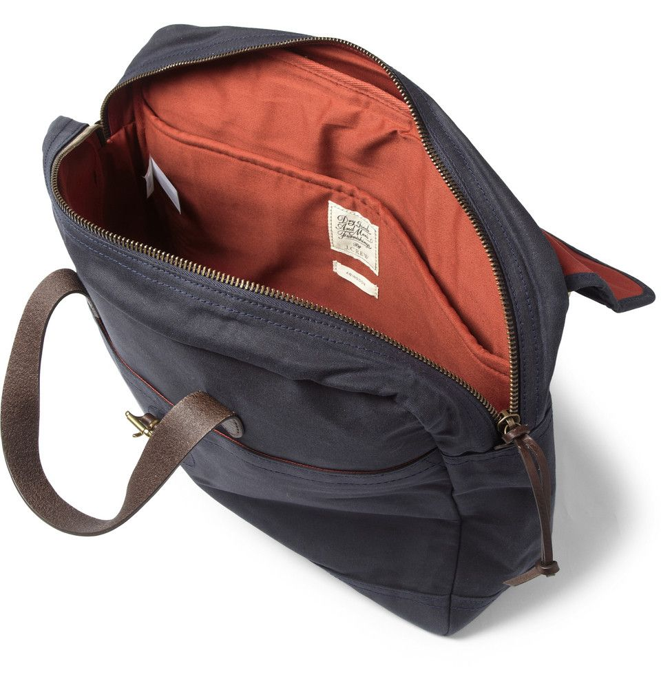 b3770eb720 Buy J.Crew Men s Blue Abingdon Waxed Cotton-Canvas And Leather Laptop Bag