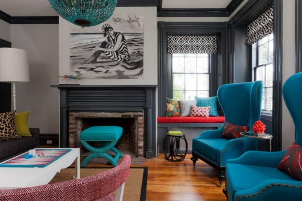 Best Contemporary Eclectic Living Room With Blue Interior Theme 400 x 300