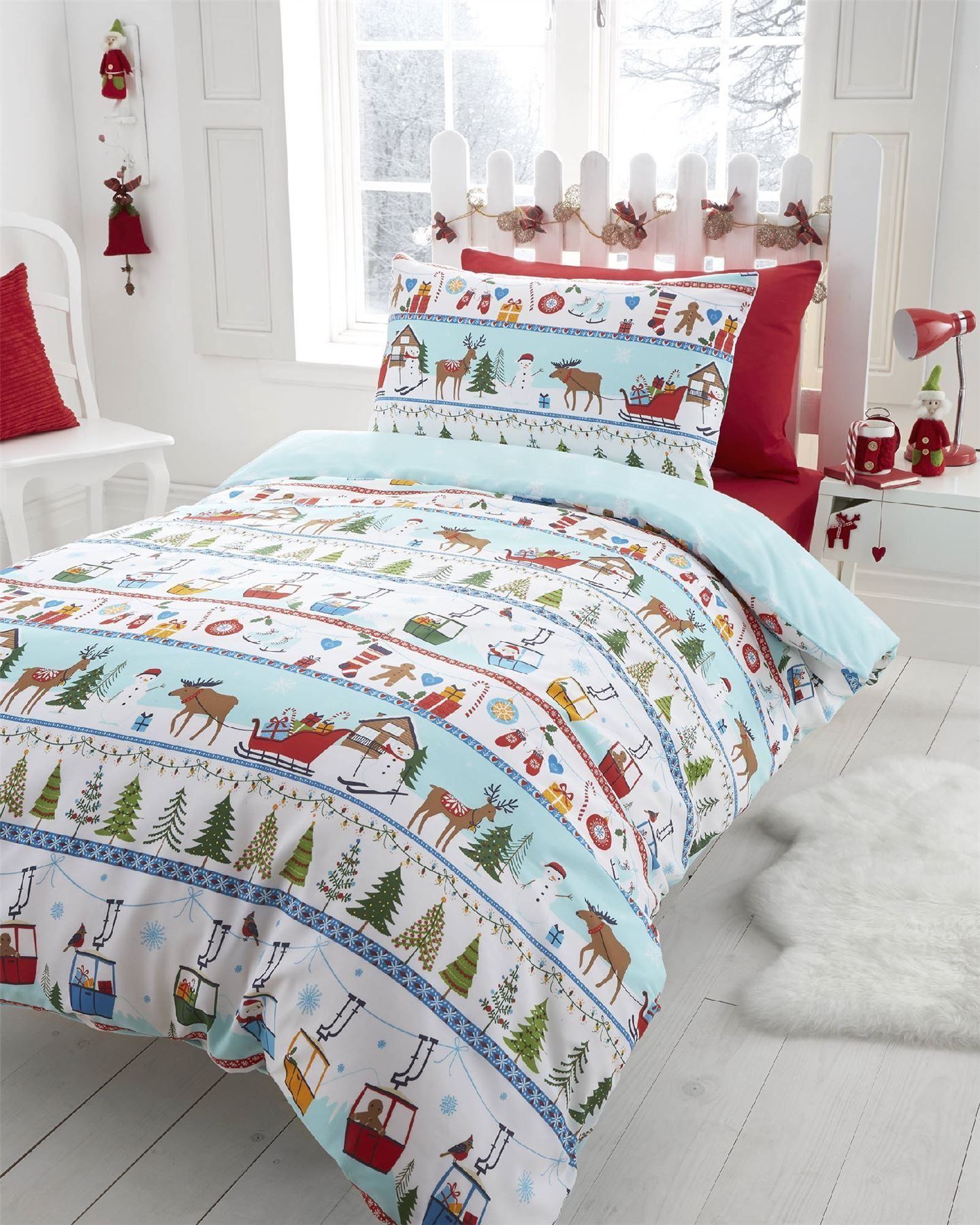 Boys Girls Kids Father Christmas Tree Santa Duvet Quilt Cover ...