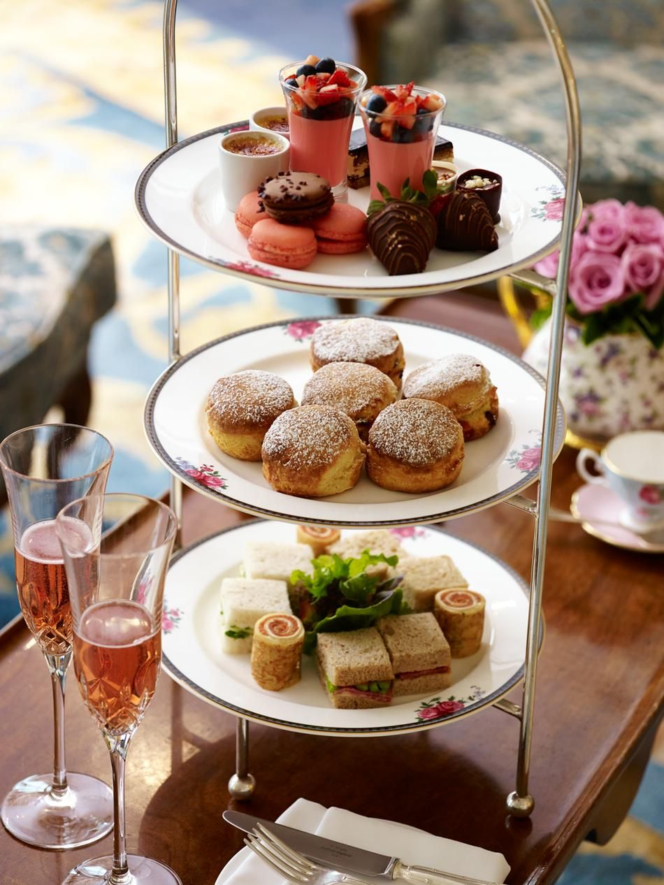 Afternoon Tea With Tea Sandwiches Scones Macarons Creme