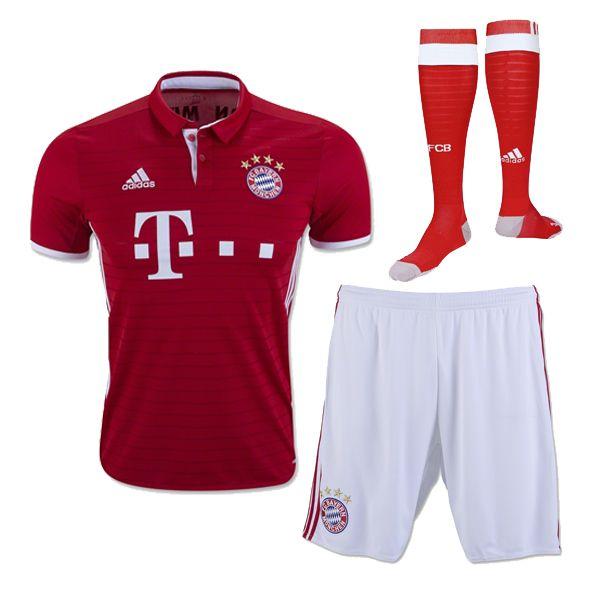 84c6a9645dc Bayern Munichen Jersey 2016 17 Home Soccer Kit (Shirt+Shorts+Socks)
