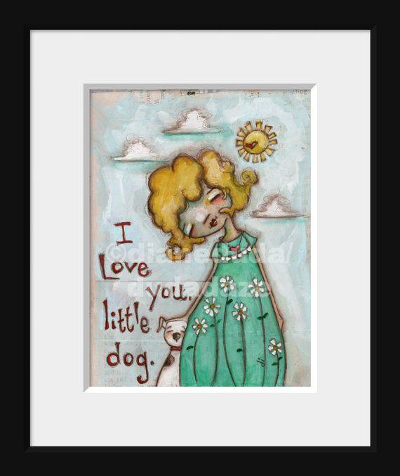Print of my original mixed media painting Little Dog Love by DUDADAZE, $7.00 ©dianeduda/dudadaze
