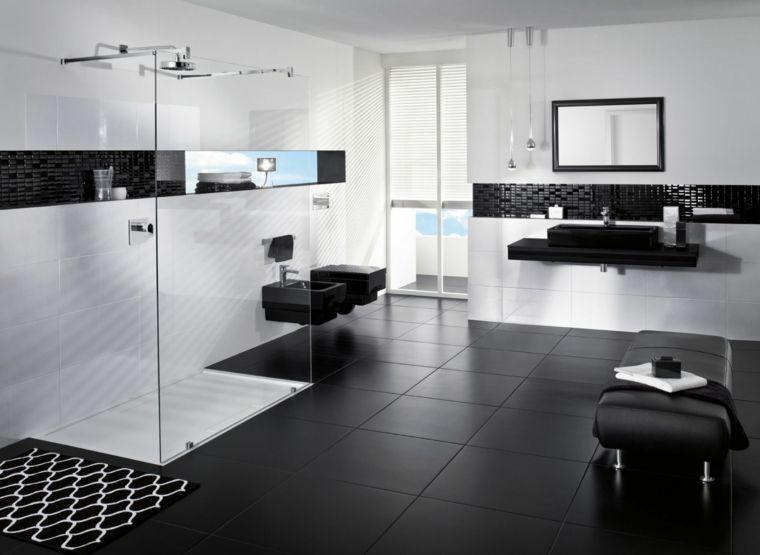 Carrelage salle de bain noir et blanc et meuble salle de bain noir - photo faience salle de bain