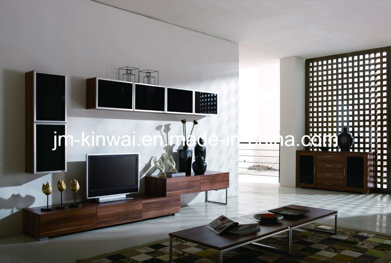 Melamine tv unit living room furniture china tv unit tv for Tv room furniture layout ideas