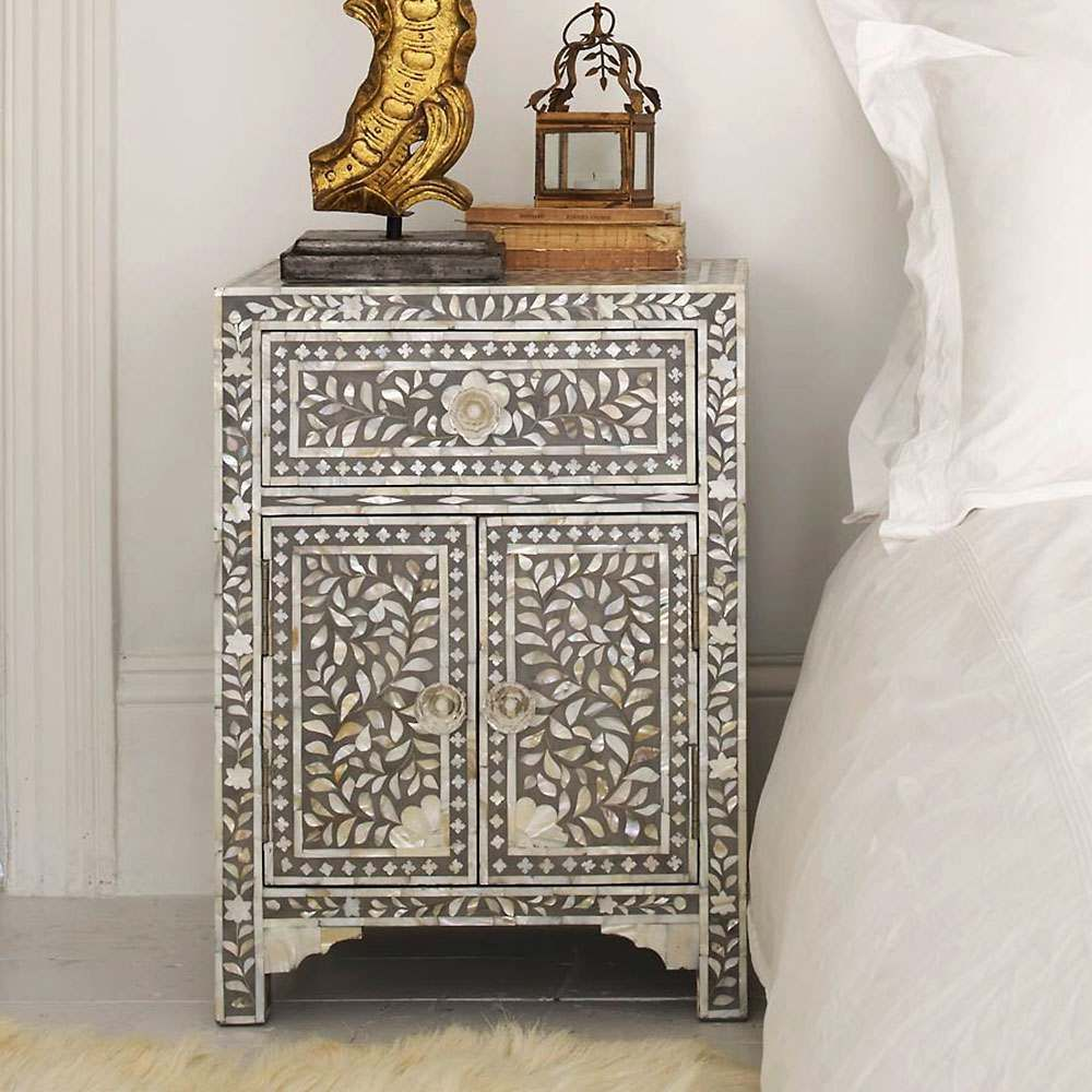 Classic Grey Mother Of Pearl Bedside Table In 2020 Mother Pearl
