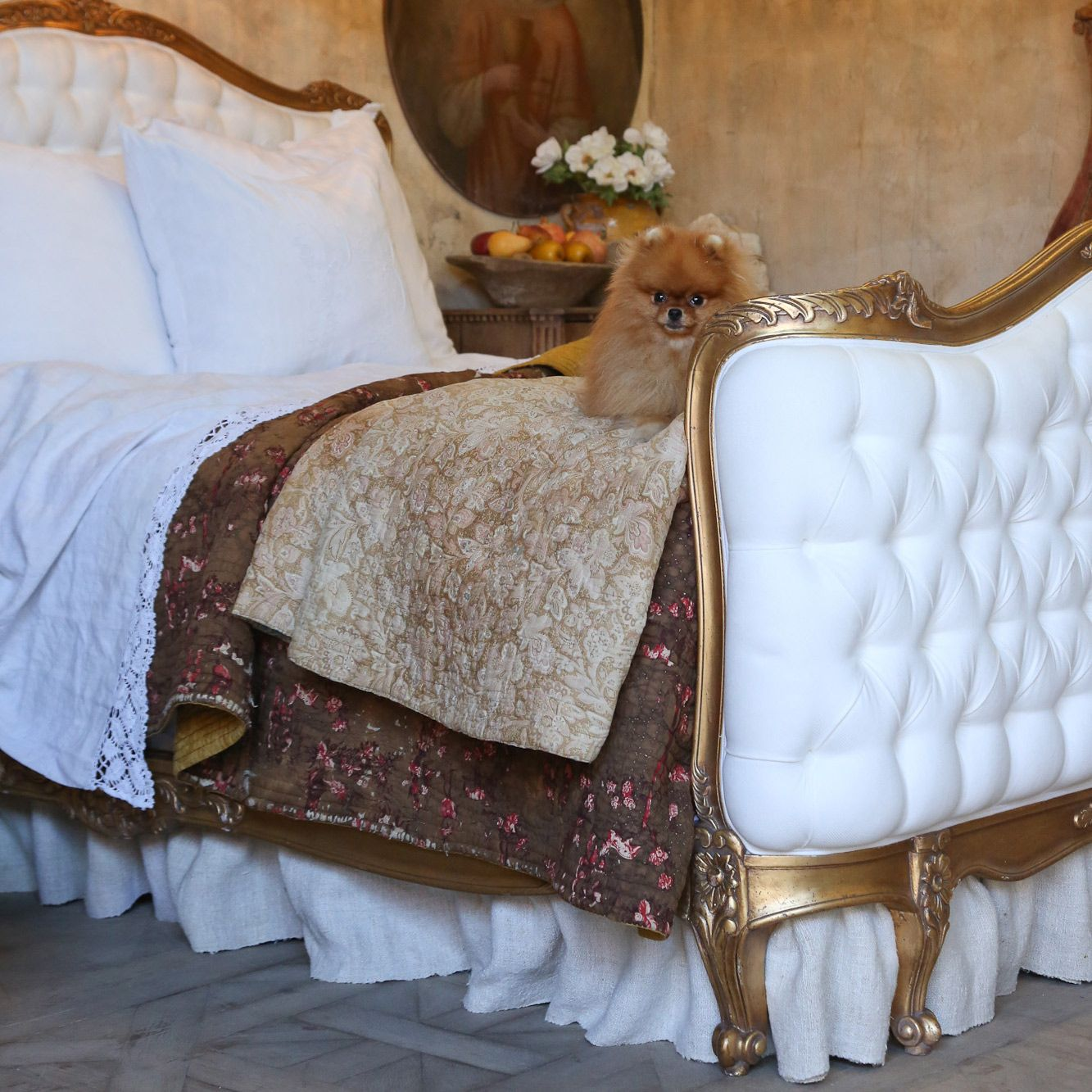 Eloquence Sophia Upholstered Tufted Antique Gold Bed @Layla Grayce