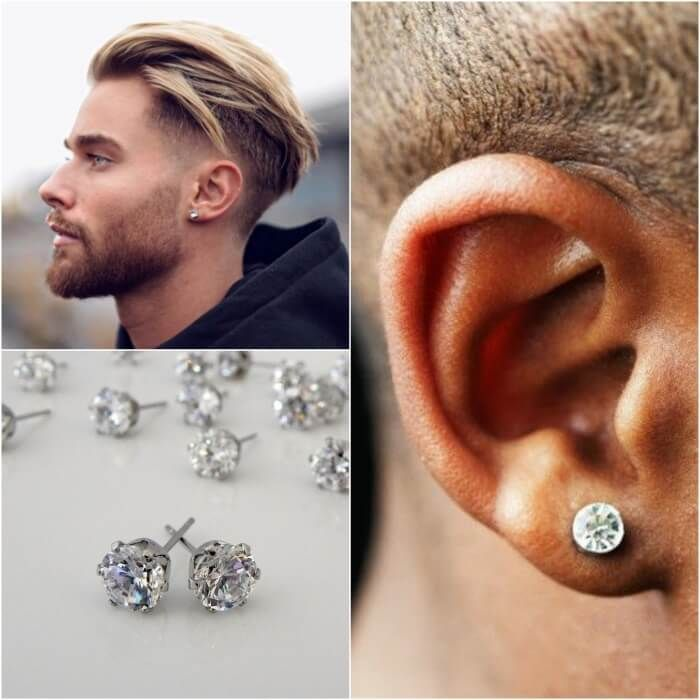 Best Men's Ear Piercing Ideas - Where to Buy Mens Earrings -  PositiveFox.com | Guys ear piercings, Men earrings, Men's piercings