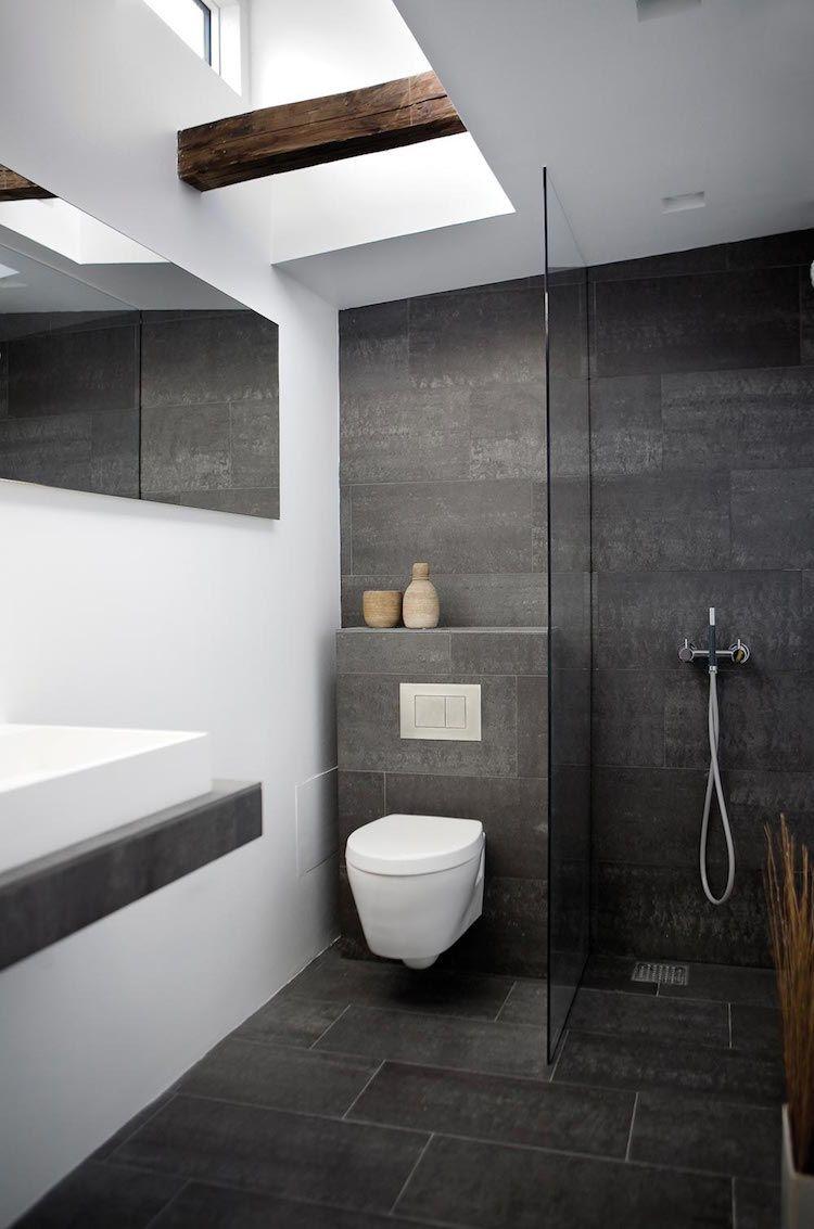 bains moderne salle de bain grise