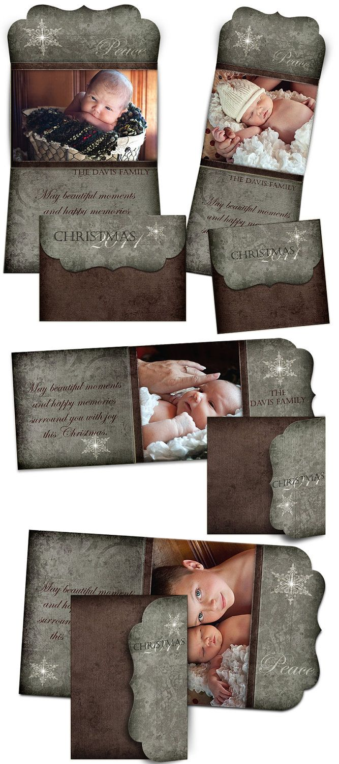 Christmas Card Design - YULE TIDE - Tri-Fold Luxe Card Digital Photoshop Templates for Photographers