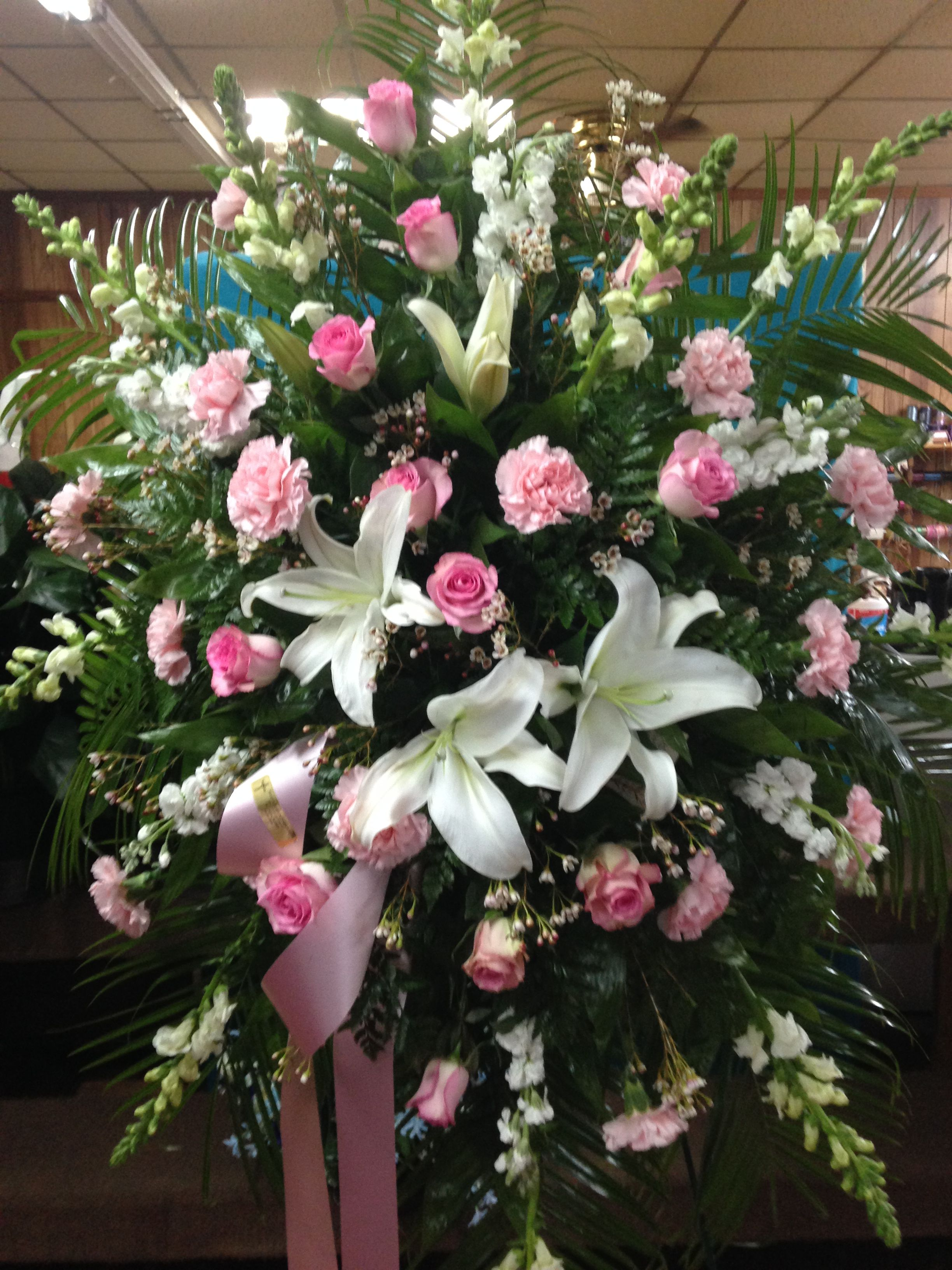 Fresh Funeral Spray Using White Lilies White Stock White Snapdragons Pink Roses Pink Carnations And Pink Wax Fl Flowers For You Funeral Sprays Wax Flowers