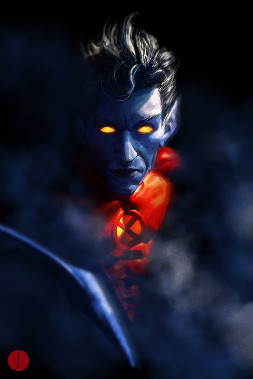 Kurt Wagner-Code Name-Nightcrawler-Mutant Abilities-Teleportation,enhanced night vision, superhuman acrobat/gymnast, prehensile tail, ability to stick to walls,blending into shadows skilled in martial arts, hand to hand combat and fencing training.