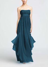 Strapless Crinkle Chiffon Dress with Godets Style F14865 Davids