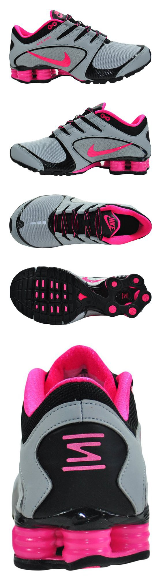 955471022450 ... 2000 - Nike Womens Shox Vaeda Wolf Grey Vivid Pink Black Synthetic  Running Shoes ...