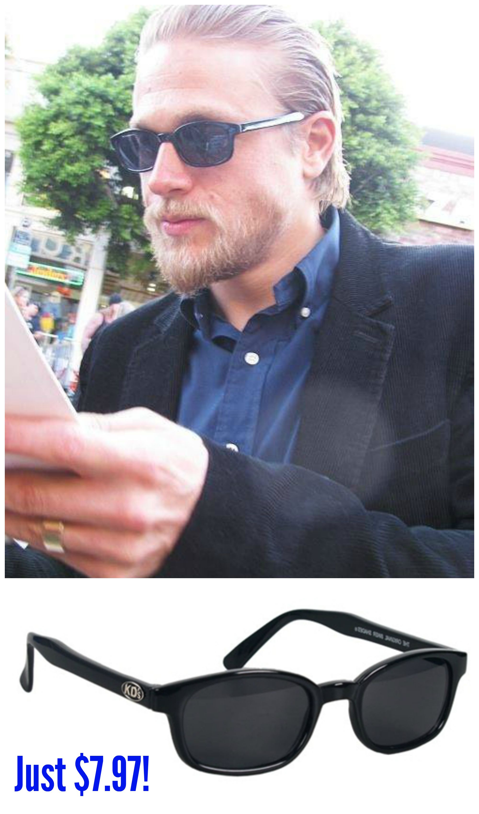 ea08cb970f0 FACT  Charlie Hunnam refuses to wear anything else but KD s! These are the  sunglasses that Jax