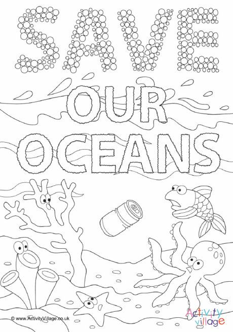 Save Our Oceans Colouring Page Ocean Coloring Pages Planet