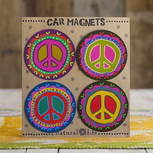 Our hippie van will always have fun magnets peace car magnets
