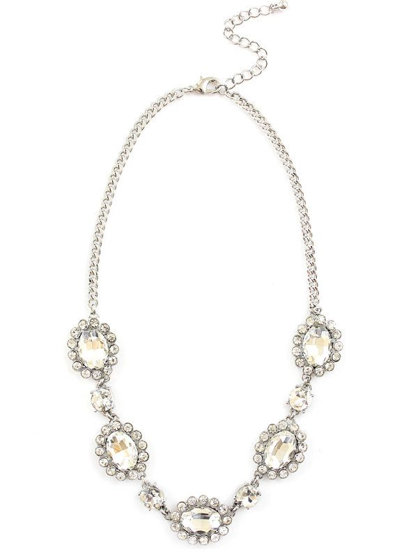 Classic Silver Crystal Strand  Statement Necklace by SundayInc, $22.00