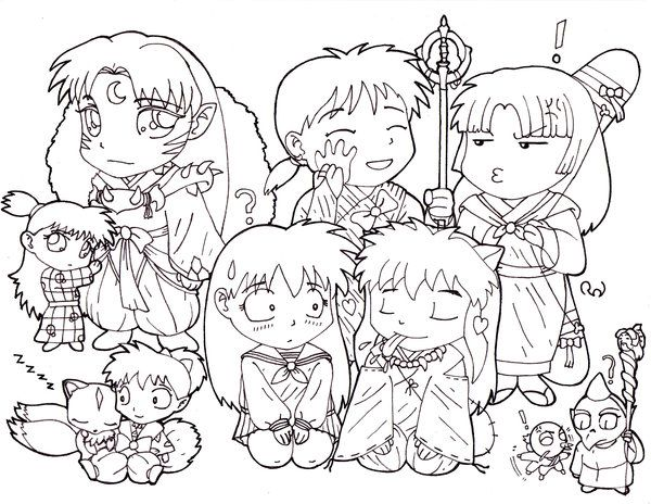 Chibi Inuyasha Group Coloring Page  LineArt Digimon  Pinterest