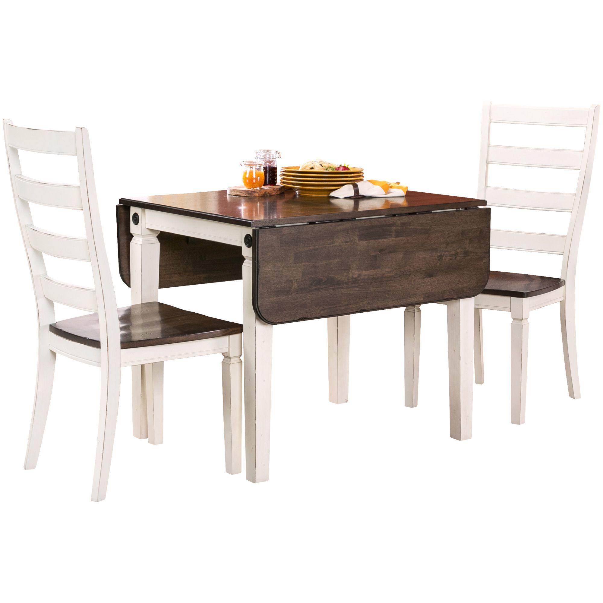 Glennwood 3 Piece Antique White Dining Set White Dining Set Dining Table Chairs 3 Piece Dining Set