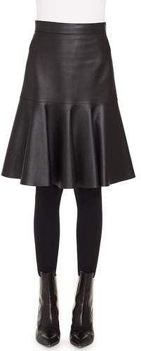 80af9cbd3 Akris Punto Ruffled Hem Back-Zip Knee-Length Leather Skirt ...