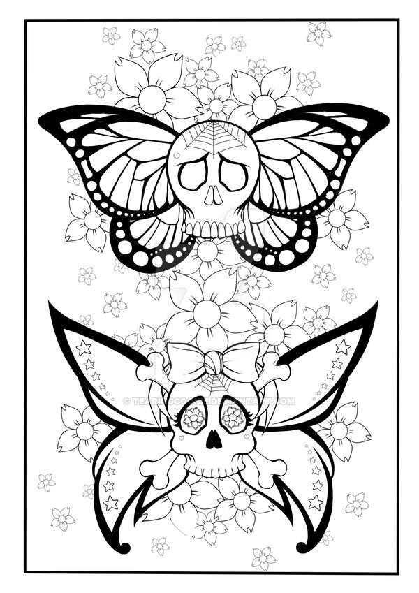 skull butterfly coloring page by tearingcookie on deviantart