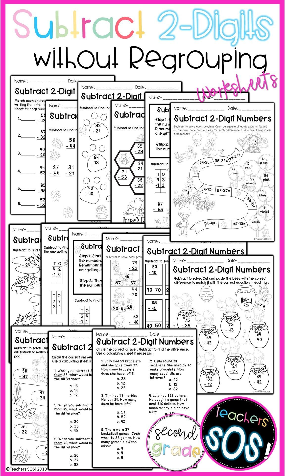 Subtract 2 Digit Numbers No Regrouping Worksheets In