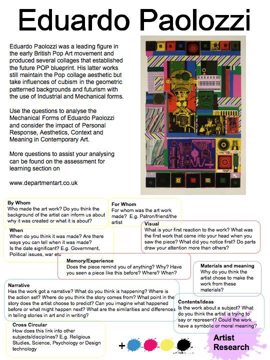 I like this format could use for intro for anyall artists we eduardo paolozzi artist research malvernweather Image collections