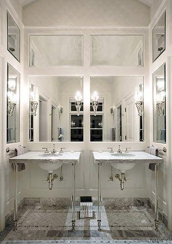 Glamorous Bathroom With Paneled Mirrored Walls Glamorous Bathroom