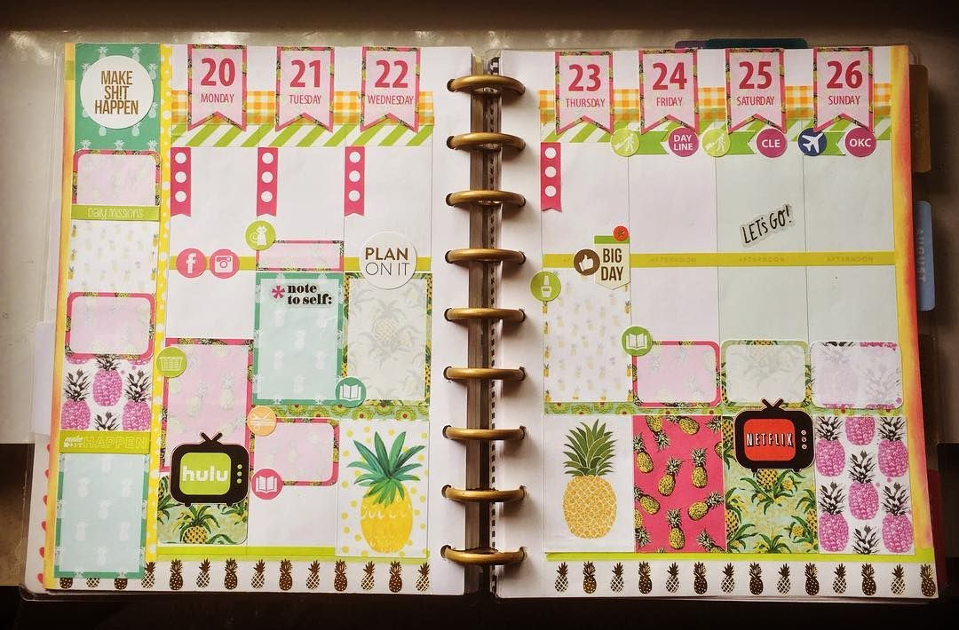 Celebrating summer with a pineapple theme! DKM  #365planner #mambihappyplanner #happyplanner #planningaddict #planner #plan #planningpurrfection #weeklyspread #layoutdesign #pineapple #summer #solstice