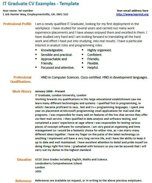 It graduate cv example graphic design pinterest cv examples it graduate cv example yelopaper Gallery