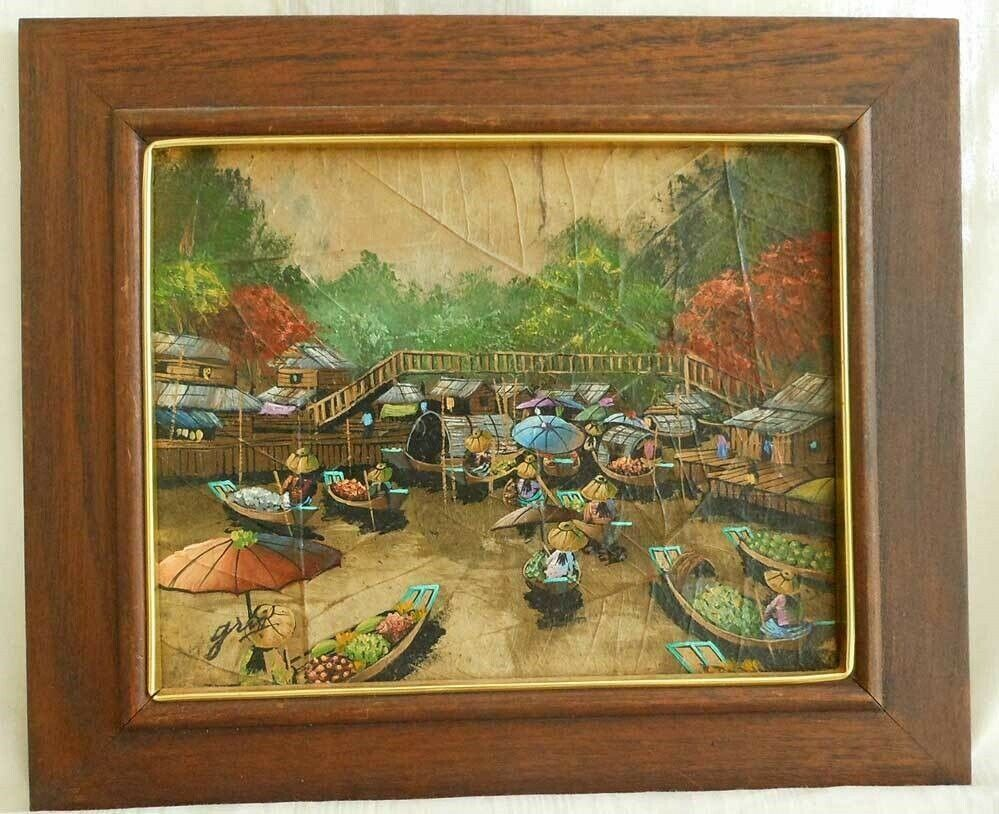 Asian Painting Oil Impressionist Vintage Water Market Signed