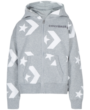 Converse Big Girls Full Zip Logo Hoodie Gray M (1012