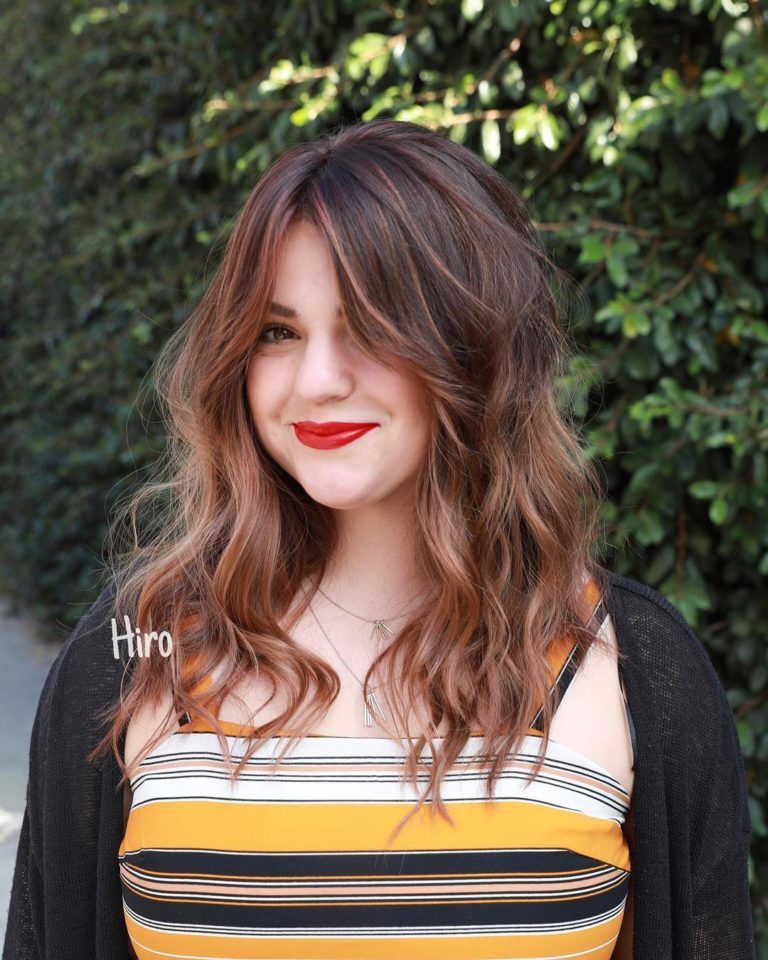Women S Beautiful Layered Lob With Long Curtain Bangs And Dark Brunette To Rose Brown Bala Bangs With Medium Hair Brunette Hair Color Medium Length Hair Styles