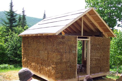 Strawbale shed yestermorrow design build school i 39 m a for Straw bale garage plans