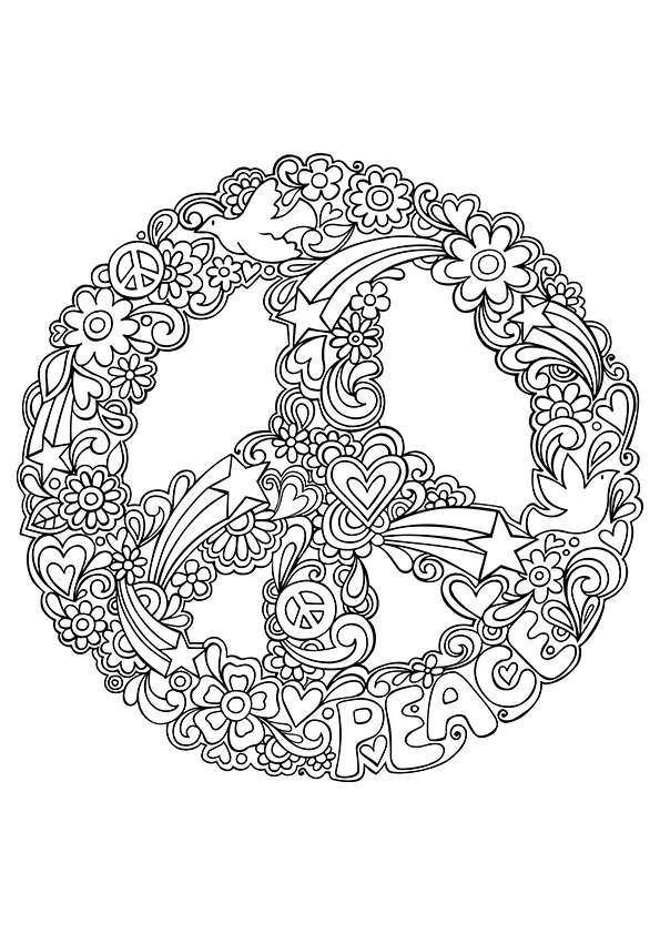 Simple and attractive free printable peace sign coloring for Peace sign mandala coloring pages