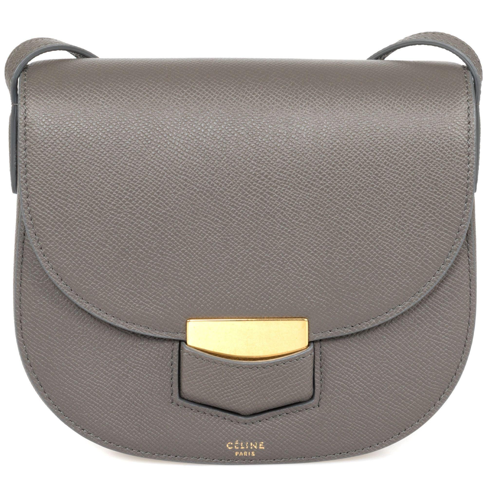 3df2f3b6a5bf Celine Trotteur Gray Grained Calfskin Crossbody Handbag