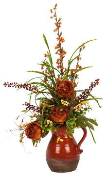 Peony in pitcher silk flower arrangement traditional artificial peony in pitcher silk flower arrangement traditional artificial flowers 245 jesu mightylinksfo