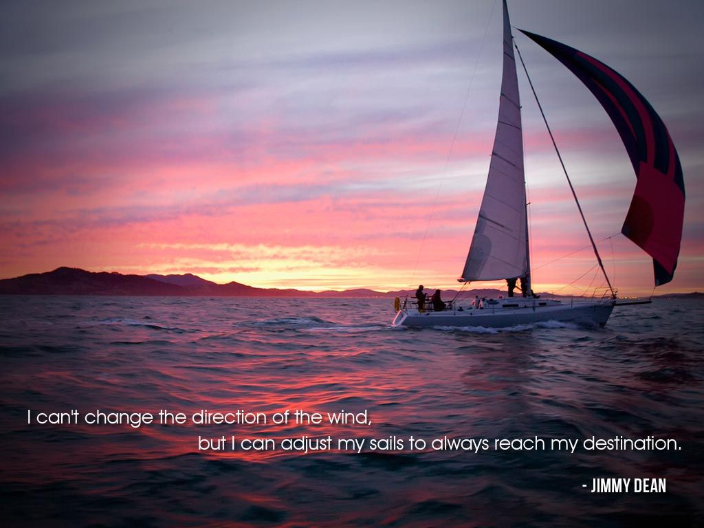 Sailing Picture Quotes: I Can't Change The Direction Of The Wind, But I Can Adjust