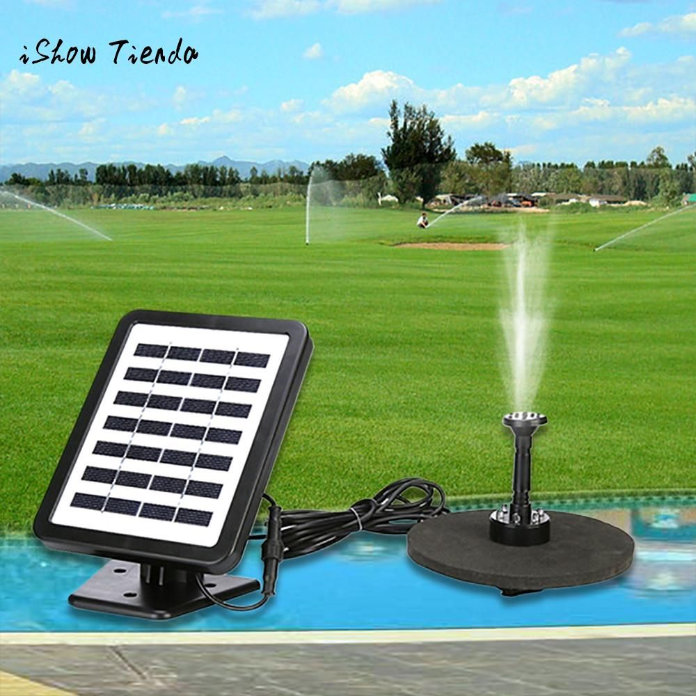 Outdoor Solar Powered Bird Bath Water Fountain Pump With Led Light
