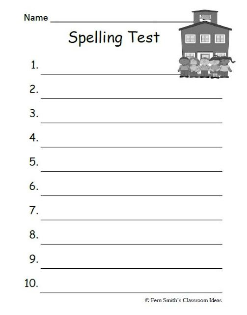 Fern Smithu0027s FREE 10 and 15 Lined Blank Year Round Spelling Test - blank reference sheet