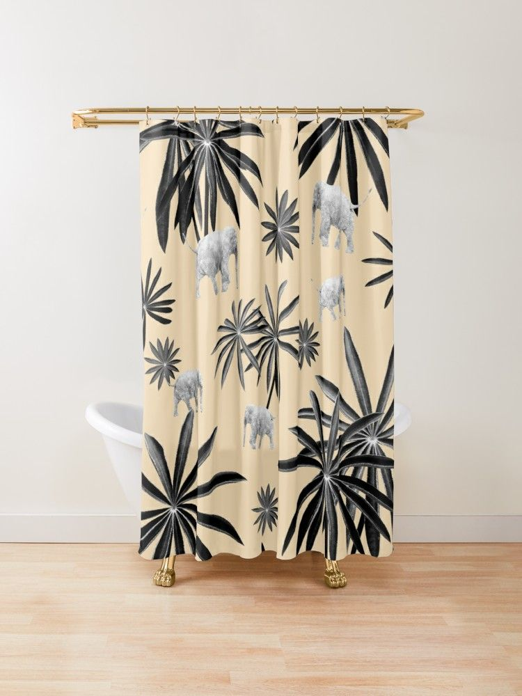'Palm Tree Elephant Jungle Pattern #2 (Kids Collection) #decor #art ' Shower Curtain by anitabellajantz #junglepattern