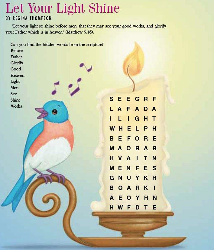 LDS Games - Word Search - Let Your Light Shine   church   Pinterest