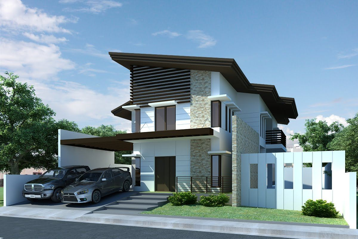 Modern house design front view with small garden and gray path with stairs and dark brown canopy with cool roof designs and white hedge