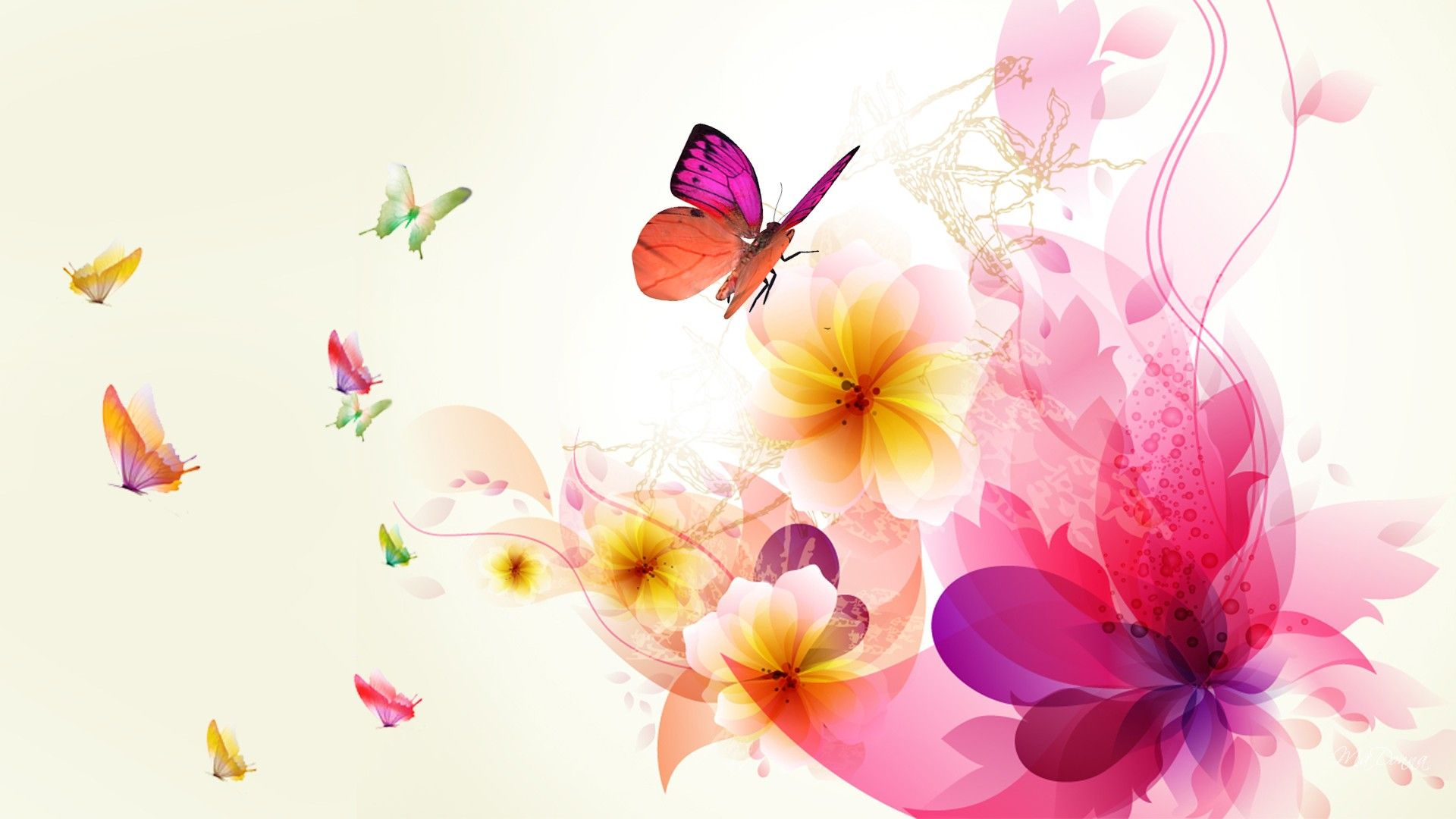 Butterflies And Flowers   Floral Background Hd, Abstract, Flower Wallpaper