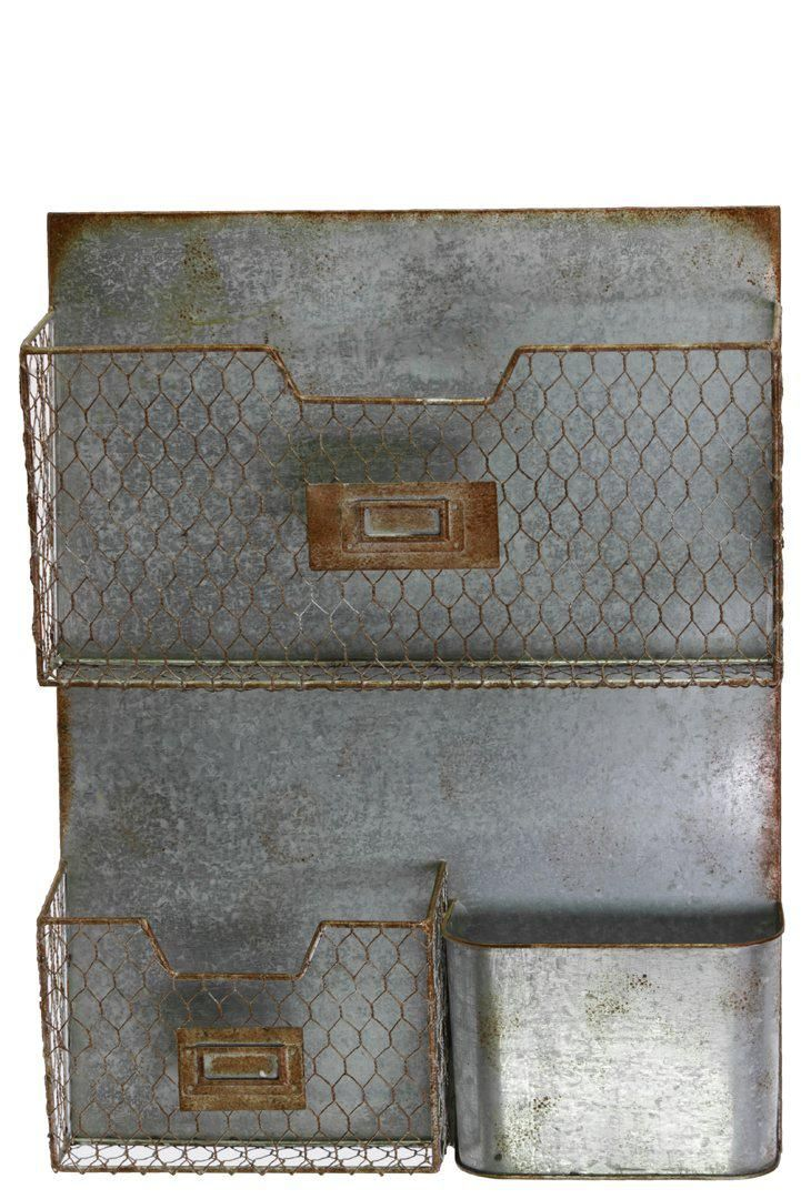 Galvanized Zinc Industrial Metal Wall File Pocket