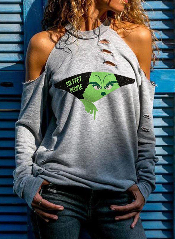 Women's Sweatshirts Color Block Round Neck Cold Sh