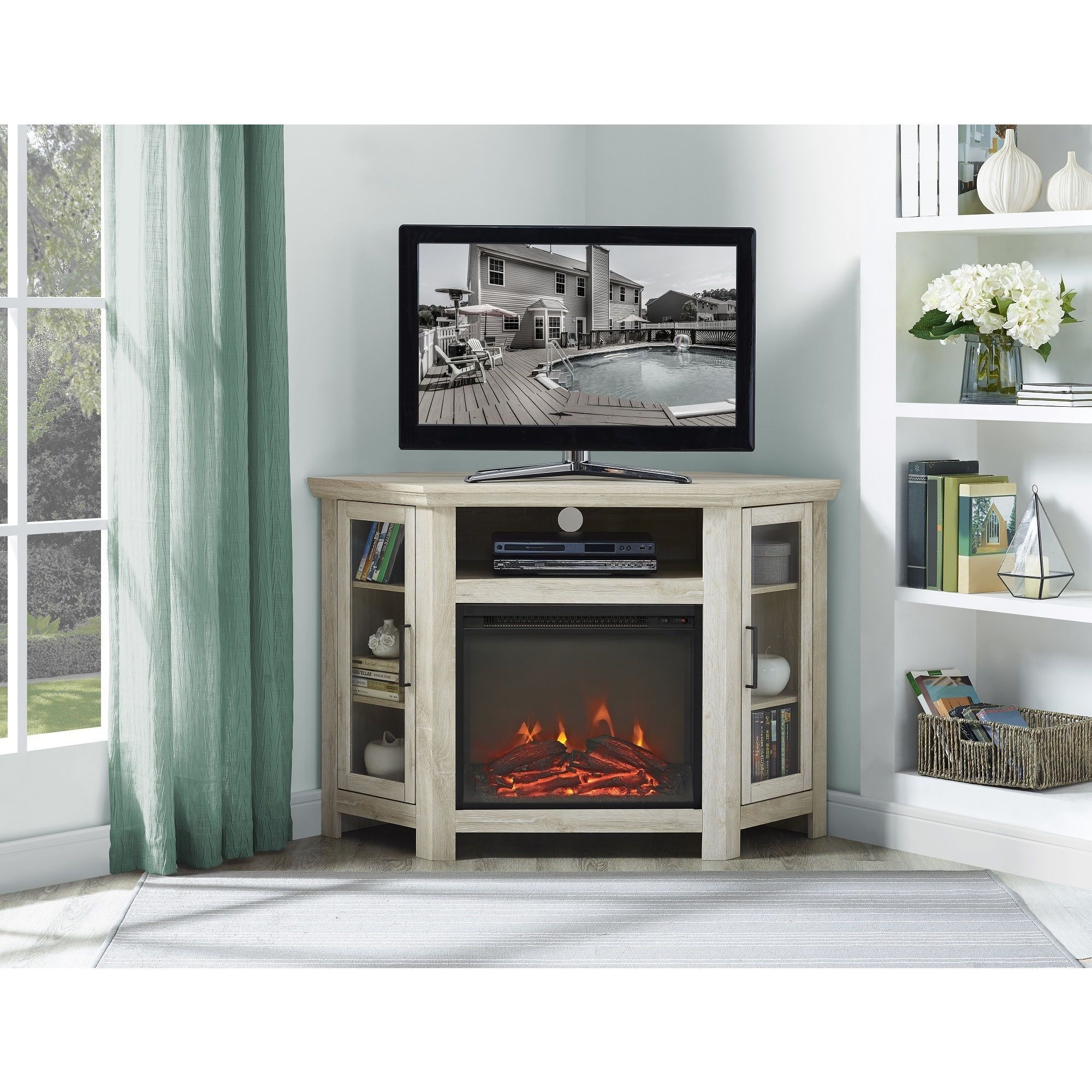 corner electric new light fireplace shelf brown varnished media wood ideas stand oak tv of compilation with