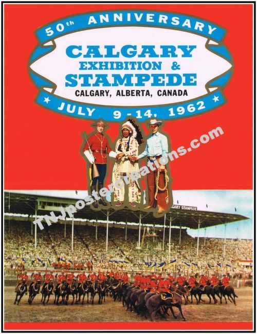 1962 Calgary Stampede Promotional Poster Rcmp Cowboys