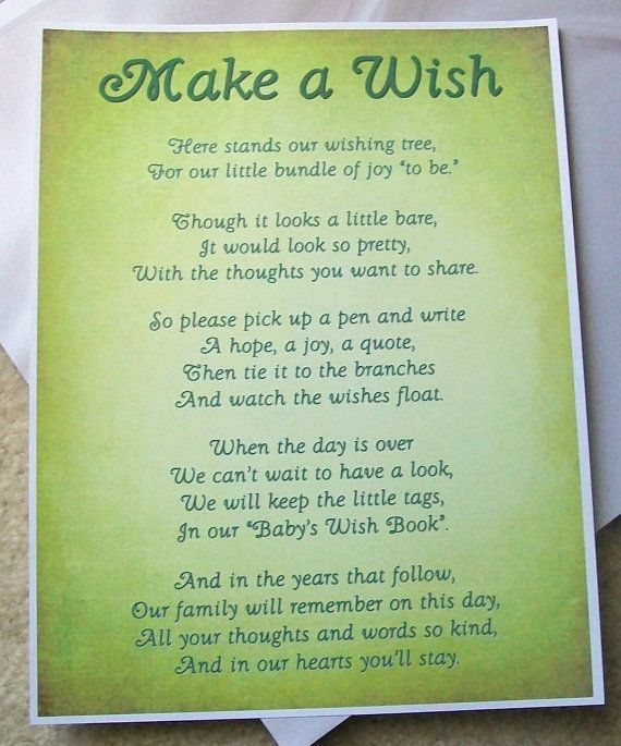Wishing Tree Baby Shower Poem Poem For Wishing Treeto Tell Guests To